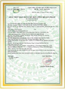 Giấy tiếp nhận đăng ký công bố sản phẩm Unical for rice - Canxi cơm của nhật