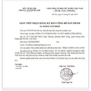 Giấy tiếp nhận đăng ký bản công bố sản phẩm milk codoca của sở y tế Hà Nội